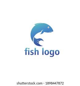 sea fish logo simple color illustration design vector