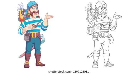 Sea man or pirate with a parrot on his shoulder. Coloring page and colorful clipart character. Cartoon design for t shirt print, icon, logo, label, patch or sticker. Vector illustration.