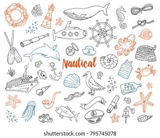 sea or marine and nautical life. Outline Summer time web icons set. engraved hand drawn in old sketch. dolphin and captain, anchor and ocean. doodle style.