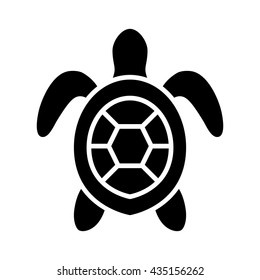 Sea / marine turtle top view flat vector icon for nature apps and websites