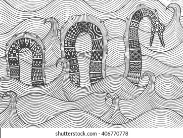 Sea monster floating on the waves of the sea. Drawing by hand. Figure style zentangle, doodle pattern. Vector illustrations isolated on white background. Coloring book page.