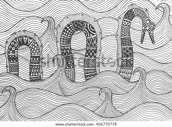 Sea Monster Floating On Waves Sea Stock Vector (Royalty Free