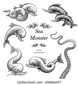 Sea Monster Illustrations in a vintage style.