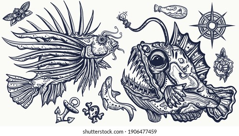 Sea monsters. Angler fish and lionfish, shark, compass. Underwater life. Deep water diving art. Treasures and life of ocean. Old school tattoo vector collection