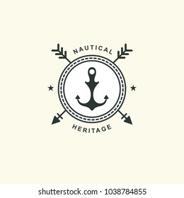 Sea and nautical typography badge and design element. Template for company icon or web decoration. Marine cruise, beach resort, shipbuilding. Vector collection. Logotype Logo