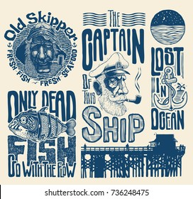 Sea And Nautical Typography And Design Elements Set. Vector Illustration