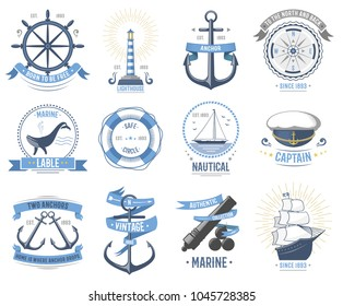 Sea nautical vector old rettro badge set sailing hat, boats, fish themed label icon vintage ship sign anchor rope wheel sea hat ribbons travel element graphic ocean illustration cruise insignia