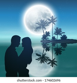 Sea at night. Island with palm trees, full moon and silhouette couple. EPS10 vector.
