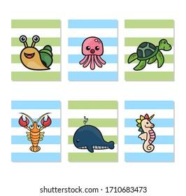 Sea animals nursery art, snails, turtles, whales, lobsters, sea horses and jellyfish, digital download nursery print, Wall decoration