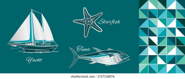 Sea Objects: yacht, starfish, tuna. Vector Illustration.