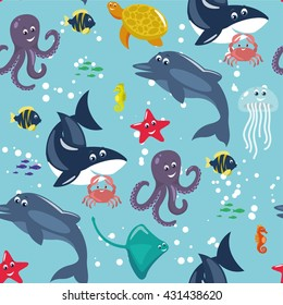 Sea and ocean animals - cute vector seamless pattern
