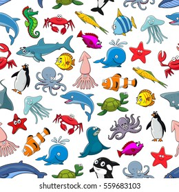 Sea and ocean animals seamless pattern of vector clown fish and butterflyfish, starfish and jellyfish, dolphin, shark, whale, seahorse, octopus, stingray and penguin, lobster and squid, turtle