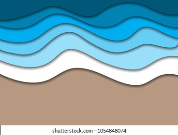 Sea or ocean coast beach with water waves and sand abstract background. Horizontal banner template with place for text. Summer vacation concept. Paper cut out style vector illustration.