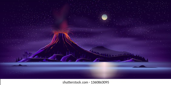 Sea or ocean desert, uninhabited island shore night landscape with active, ready for eruption volcano, mountain top fiery glowing in darkness cartoon vector illustration. Tectonic or volcanic activity