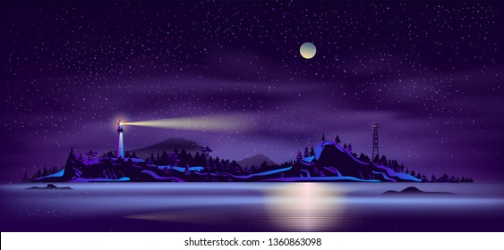 Sea or ocean island, wild northern land seashore night landscape with working in dusk lighthouse on cliff and fire tower with red signal light on mountain shore neon colors cartoon vector illustration