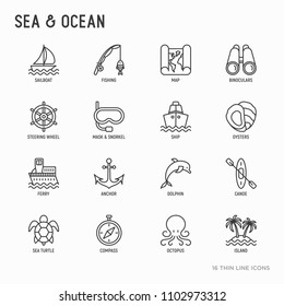 Sea and ocean journey thin line icons set: sailboat, fishing, ship, oysters, anchor, octopus, compass, steering wheel, snorkel, dolphin, sea turtle. Modern vector illustration.