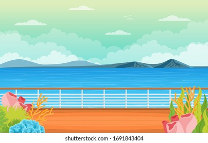 Sea Ocean Landscape View on Cruise Ship Deck Coral Reef Illustration