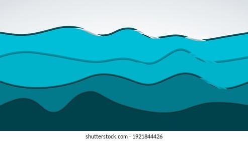 Sea ocean waves flat background.