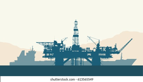 Sea offshore oil drilling rig and tanker silhouettes. Detail vector illustration