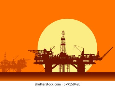 Sea oil rigs. Offshore drilling platforms in the sea over yellow sun. Detail vector illustration.