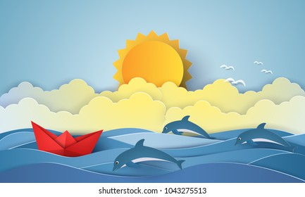 Sea with origami boat and dolphin and sun , paper art style
