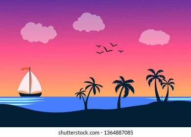 Sea panorama. Tropical beach. Summer landscape. Traval vacation and holidays concept. Vector background