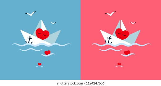 sea, paper ship, heart postcard vector illustration, background