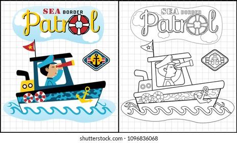 Sea patrol, soldier on a boat, coloring book or page, vector cartoon illustration