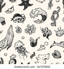 Sea pattern. Marine pattern. Nautical elements. Whale, fishes, pirate elements, shells, rope. Underwater world.