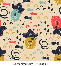 Sea pattern with pirate birds and fishes.vector illustration.Can be used for kids/babies shirt design, fashion print design, t-shirt, baby shower card,celebration card, greeting card, invitation card