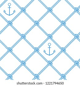 Sea pattern. Vector seamless pattern with outline anchor and rope