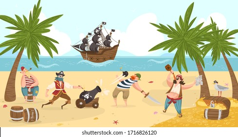 Sea pirates fight and drink rum on island, buccaneers cartoon characters flat vector illustration with treasure adventure. Sail boat in sea, pirates sailors, captain, boatswain and skipper.