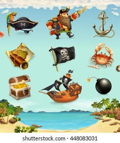 Sea pirates, funny character and objects, vector icon set