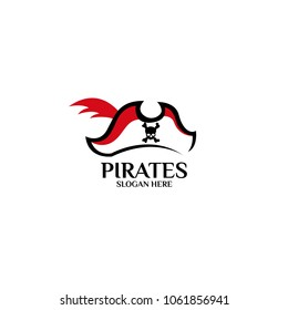 Sea Pirates logo template design. Vector illustration