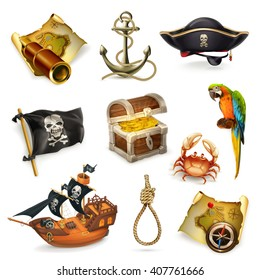 Sea pirates, vector icon set