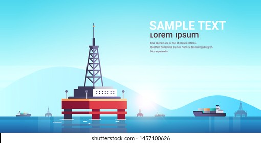 sea platform industrial offshore rig drilling facility power station in water oil industry concept seascape mountains background flat horizontal copy space