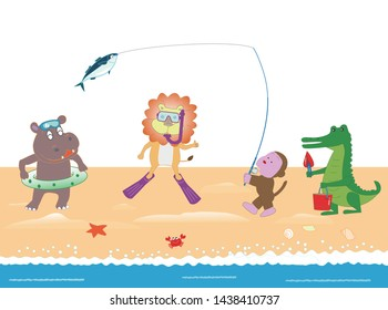 Sea play of animals. Hippo swims, lion snorkeling, monkey fishing, crocodile shelling.Background material for summer.