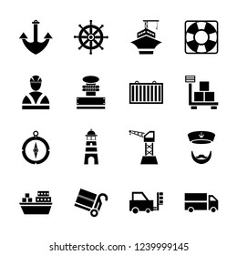 Sea port black icons set. Set of 16 Glyph style icons such as anchor, barge, compass, container, and crane. Suitable for cruise, transportation, and maritime theme - Vector Illustration