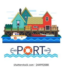 Sea Port. Boats with a cargo. Warehouse. Vector flat illustration