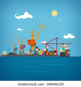 Sea port, cargo cranes  load containers on the container ship or unload at dock, sea freight transportation , vector illustration