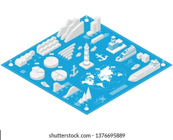Sea port isometric infographics with industrial, fishing, cruise ships and lighthouse with buoy as well as other elements of the seaport. Vector illustration for presentation and graphic.