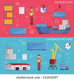 Sea port logistic set with sea port container cargo ship and shipment flat vector banner. Cargo ship, logistics and transportation infographics elements.