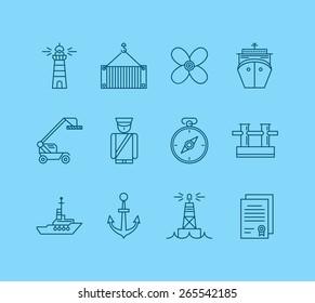 Sea port nautical transportation flat icons set isolated vector illustration