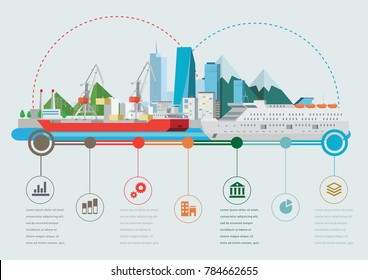 Sea Port with ship on flying island concept flat vector illustration