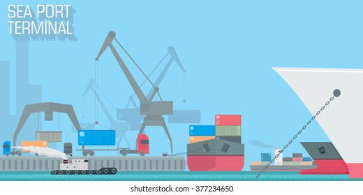 sea port terminal. unloading cargo ship with containers. vector illustration for business and industrial vision, web design, background or wallpaper