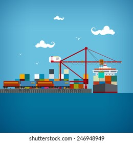 Sea port, unloading of cargo containers from the carrier, cranes load containers on the ship or unload, sea freight transportation, vector illustration