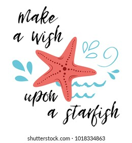 Sea poster with fish phrase Make a wish upon a star, wave, seastar. Vector typographic banner inspirational quote. Card for summer time, vacation. Cute print, label, logo, sticker, stamp, sign
