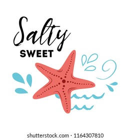 Sea poster with sea fish phrase Salty Sweet, wave, seastar Vector typographic banner inspirational quote. Card for summer time, vacation. Cute print, label, logo, sticker, stamp, sign badge Travel