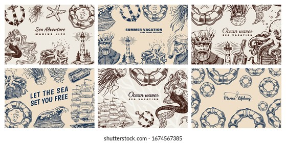 Sea Posters set. Nautical banners or backgrounds. Lighthouse, mermaid and marine captain, octopus and shipping sail, old sailor, ocean waves, seaman and lifebuoy. Hand drawn engraved old sketch.