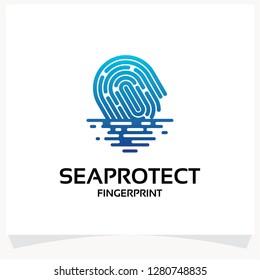 Sea Protect Fingerprint Logo Template Design Vector Inspiration. Icon Design
